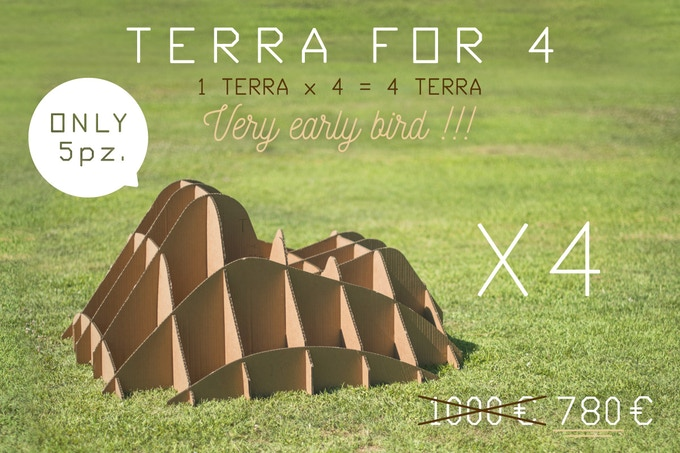 TERRA!FOR4 is four TERRA! scale 1:1 (dimensions in 44,88 x 44,88 x 21,65 / cm 114 x 114 x 55)