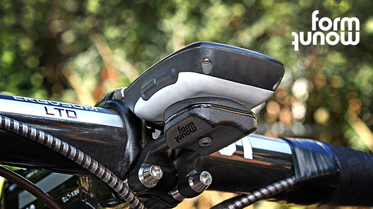 Form Mount, a direct stem bicycle mounting system for Garmin computers, GoPro, Cameras, Phones, and Lights, with combination ability.