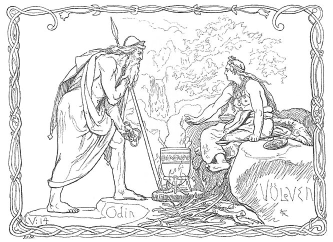 A völva, a Scandinavian seeress, tells the spear-wielding god Odin of what has been and what will be in Odin and the Völva by Lorenz Frølich