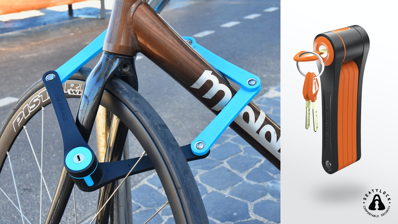 A premium folding bike lock features the perfect MIX between protection, weight and design