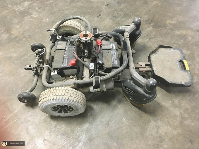 Typical used electric wheelchair base used as drive system