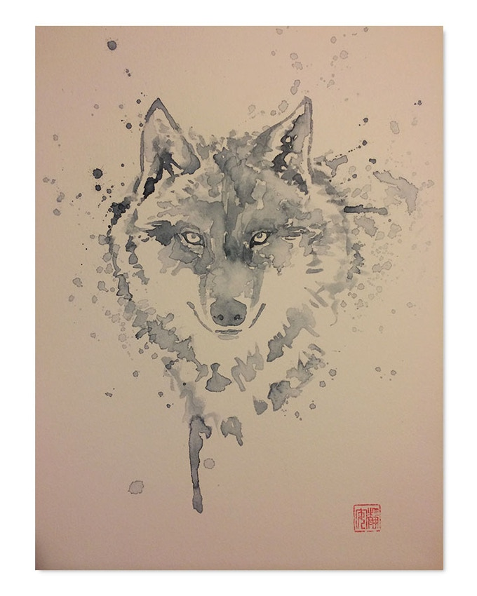 """The original 12"""" x 18"""" watercolour painting of the Wolf by David Mack! Pledge for this and get not just the art, but a whole host of incredible items in your package!"""