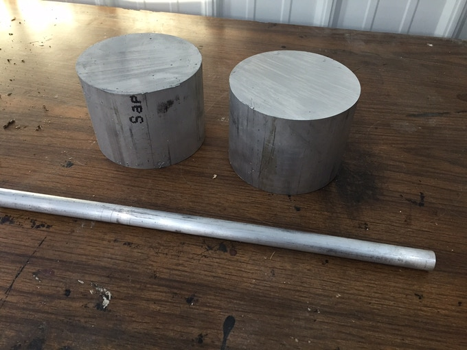Each billet piece weights approx 9 lbs prior to machining