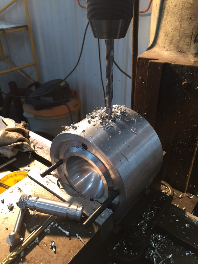 Drilling and boring hole for the Ice Ejector knob