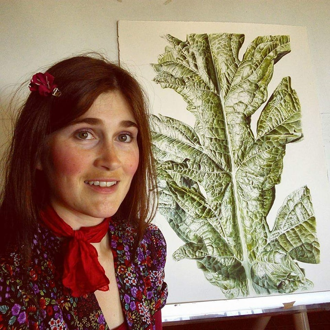Here I am with one of my paintings of an artichoke leaf