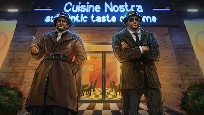 A pair of Mafia Enforcers stand guard for a meeting between a high up mafioso and city officials.