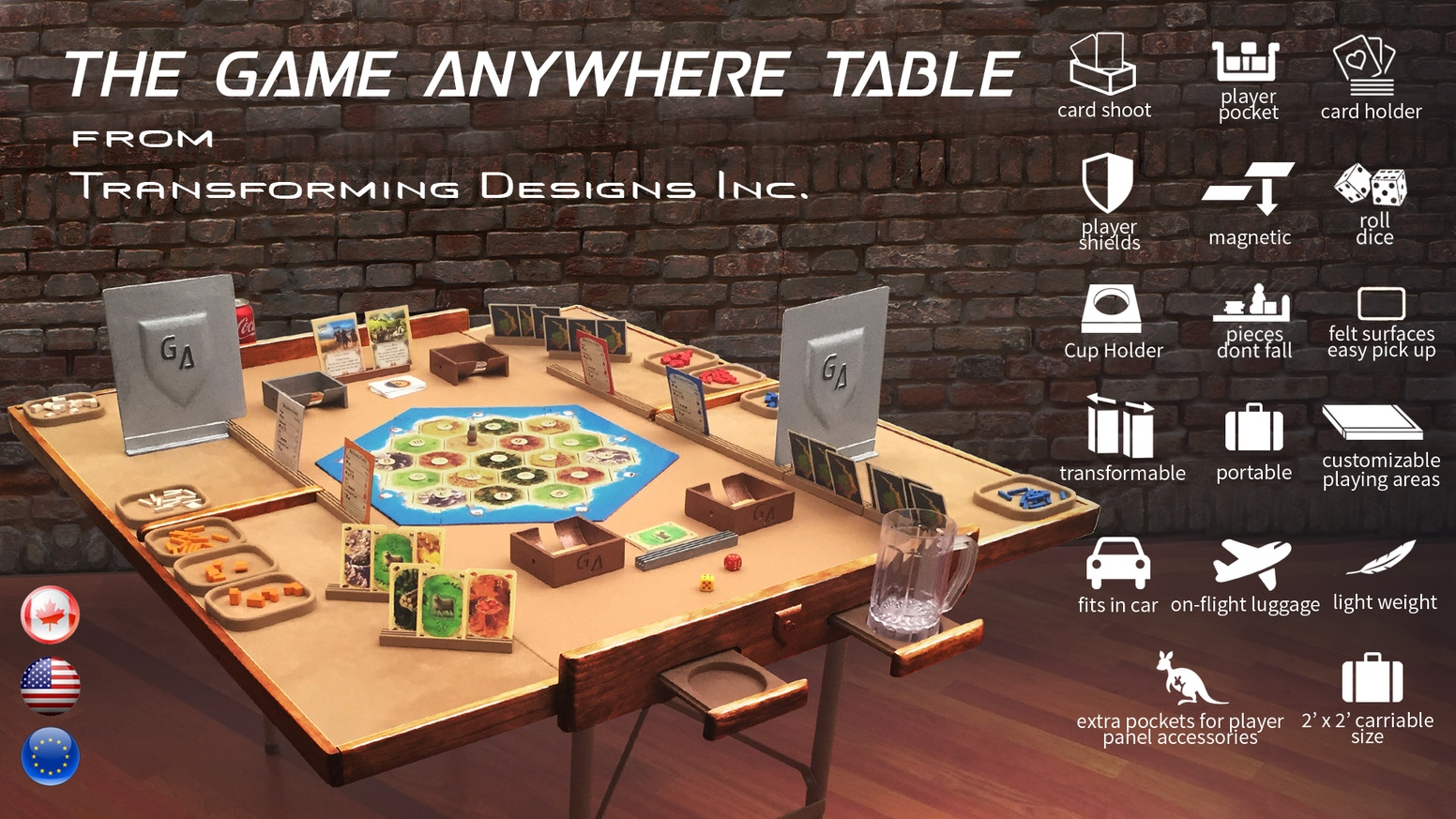 A customizable gaming table, for the best gaming experience, portable, storable and lightweight, that can be taken anywhere