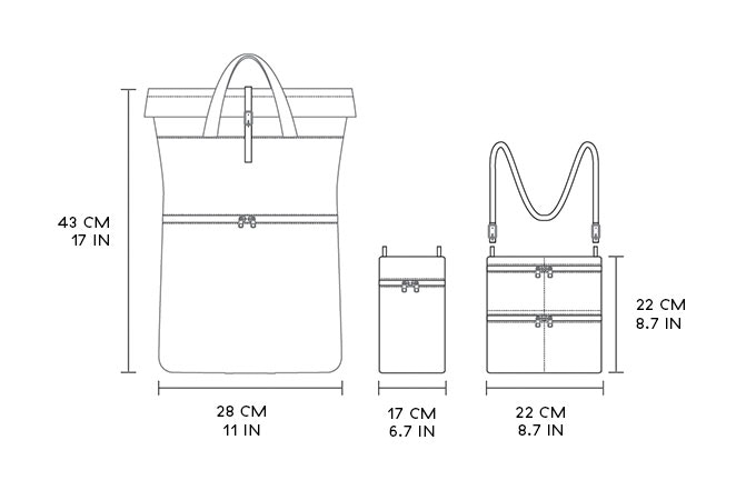 Dimensions for Solas and Solas accessory bags