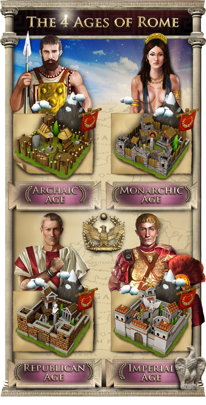 Unlock the 4 Ages of Rome in order to advance from chieftain to emperor.