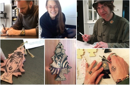 Arnold Pander, Sarah Buckley, and Peter Holmstrom making their custom, artist-altered trees