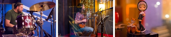 Jason laying down drum tracks / Matt on the uke / Sam is with us in spirit and as this avatar