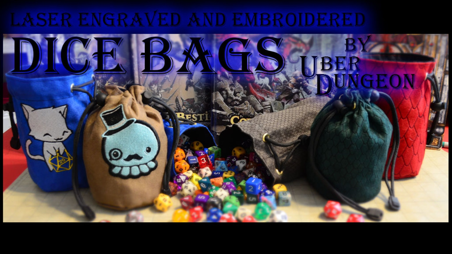 Get creatures of the gaming world embroidered on you dice bag or pick up a classy Laser engraved Dragon Scale Dice Bag.