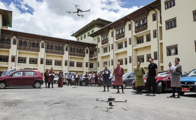 Medical delivery drones being tested in front of the National Referral Hospital. Photo courtesy of Matternet.