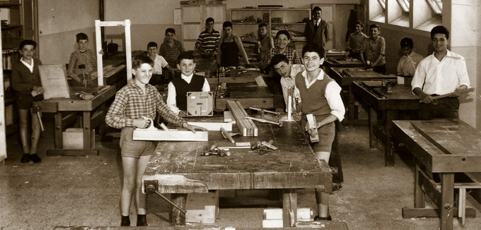 A woodworking lesson in Friuli, 1961