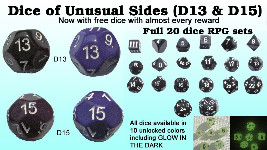 13 & 15 sided dice ( D13 & D15 ) w/ DCC & other sets project video thumbnail