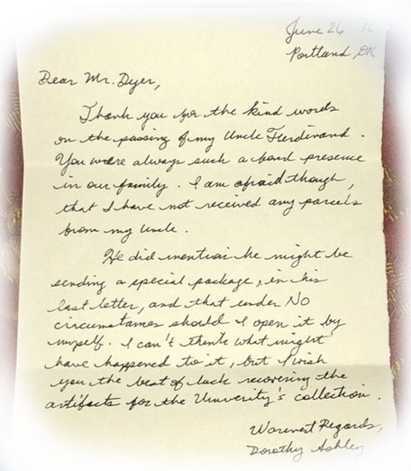 Letter from Dot Ashley to Prof. William Dyer.