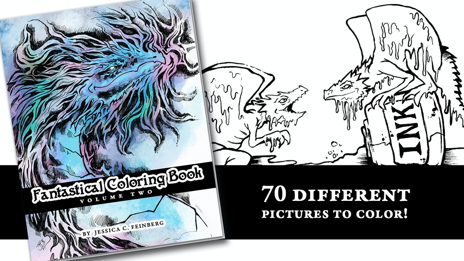 70 different fantasy pictures to color! Including dragons, mermaids, griffins and much more!
