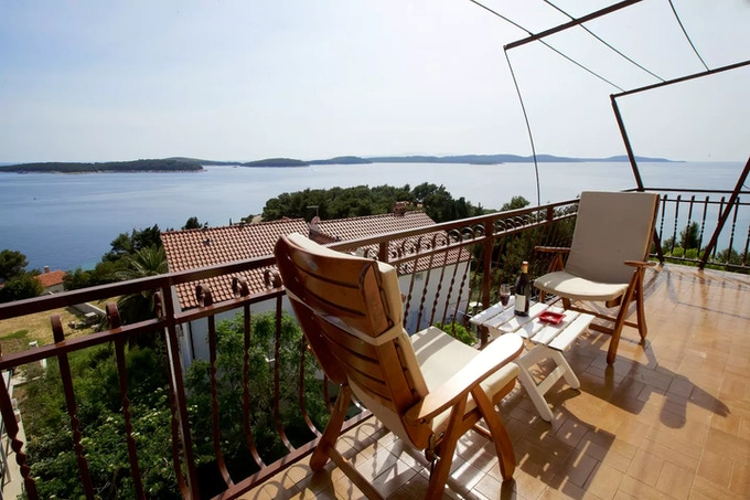 Patak's Place Hvar. This is the stunning view you will have from your apartment on top of our house when you're not busy exploring during your October harvest vacation!