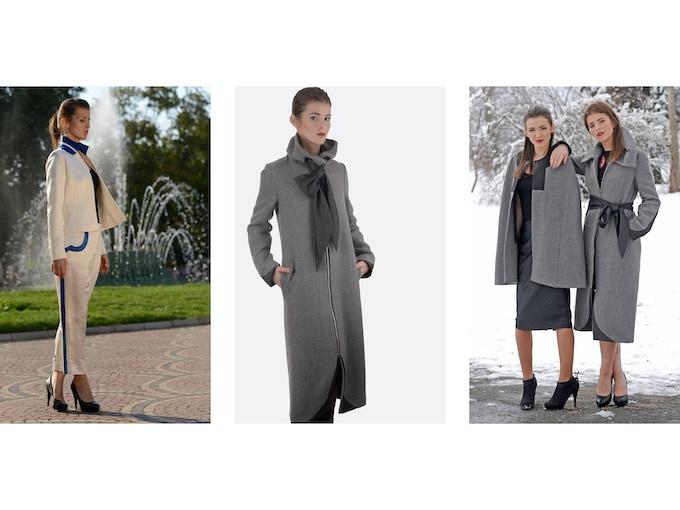 $500 Backer Level - Left: Nina Hemp/Silk Charmeuse Suit (Blazer + Pant); Middle: Tatiana Alpaca Wool Coat; Right: Mirela Alpaca Wool Cape