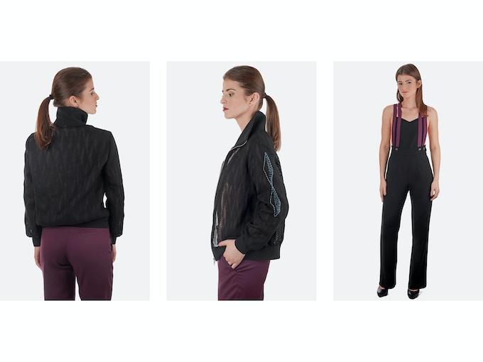 $250 Backer Level - Left: Gergana Designer Deadstock Jacket (Back); Middle: Gergana Jacket (LOZENA Logo on Sleeve); Right: Natalia Designer Deadstock/Organic Wool Jumpsuit