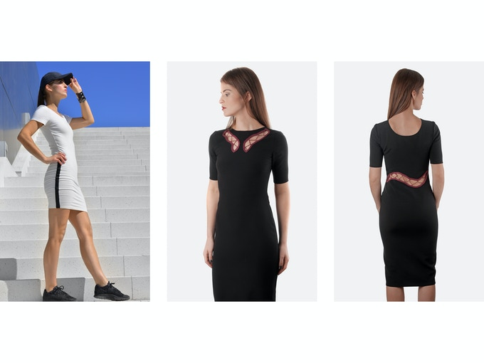 $250 Backer Level - Left: Valeria Organic Cotton Stretch Dress; Middle: Emilia Designer Deadstock/Silk Dress (Front); Right: Emilia Dress (Back)