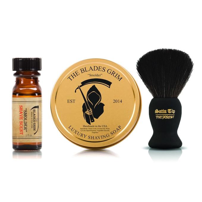 The Blades Grim Smolder Shave Scent, Soap & Brush