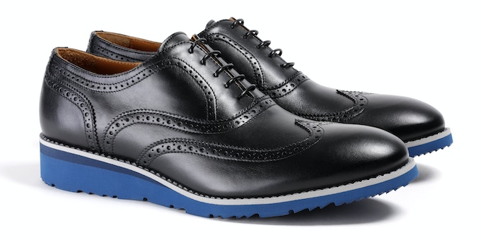 Men's Black & Navy Wingtip