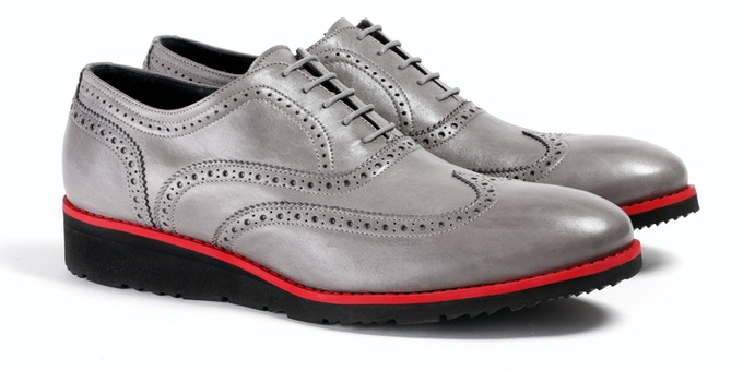 Men's Grey & Red Wingtip