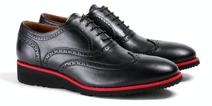 Men's Black & Red Wingtip