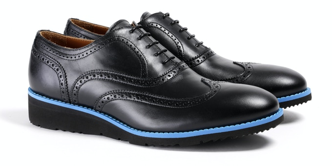 Men's Black & Blue Wingtip