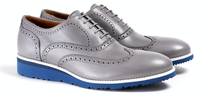 Men's Grey & Navy Wingtip
