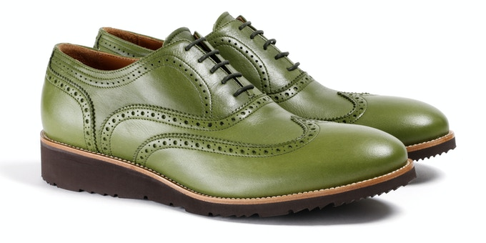 Men's Green & Brown Wingtip