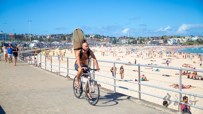 Cycling to the beach can be so much easier without having to hold a board