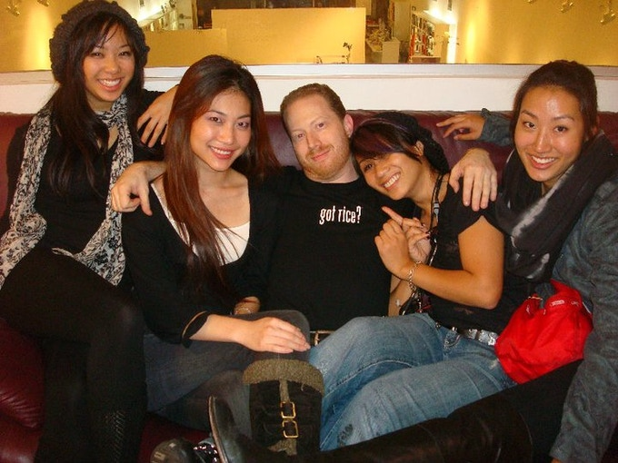 Brent Tonick chillin' with the amazing ladies on the production team