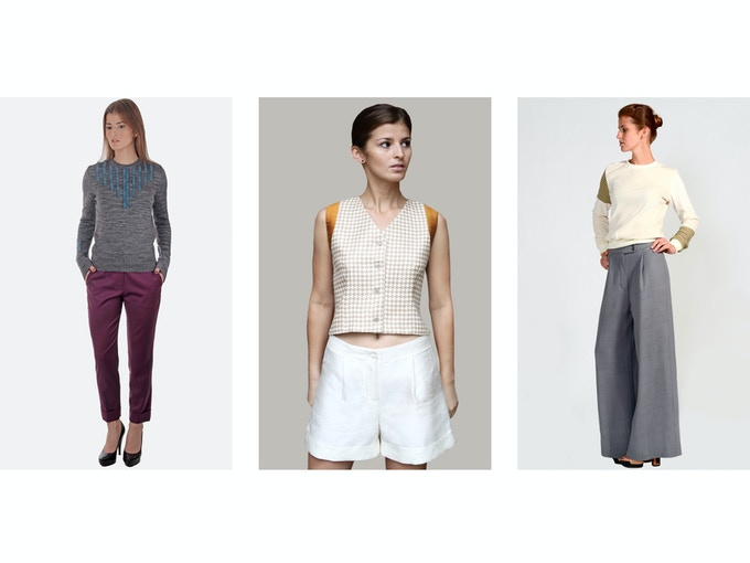 $100 Backer Level - Left: Ivelina Organic Wool Pant; Middle: Violeta Raw Silk Shorts; Right: Yulia Merino Wool Pant