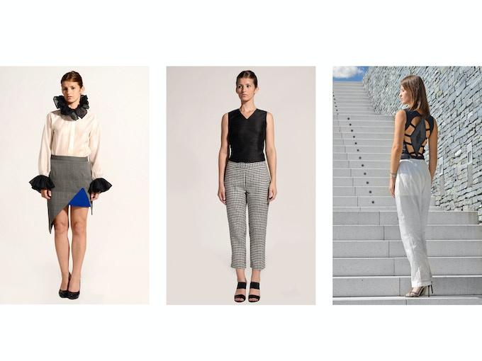 $100 Backer Level - Left: Zora Merino Wool Asymmetrical Skirt; Middle: Desi Raw Silk Diamond-Back Top (Front); Right: Desi Top (Back)