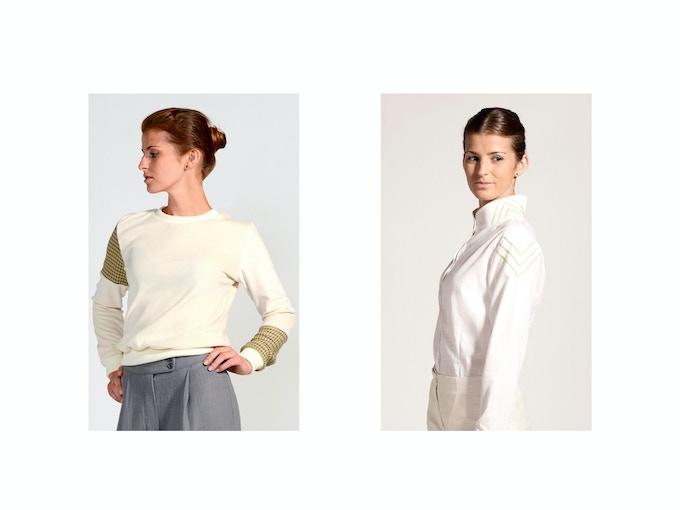 $100 Backer Level - Left: Teodora Organic Cotton Velvet Mountain Sweater; Right: Mira Organic Cotton Embroidered Button-Up