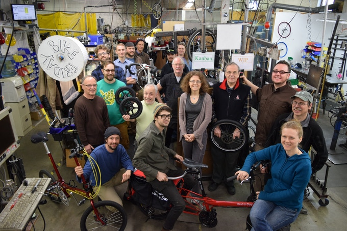 The Bike Friday Team: Combined experience of 60 years designing bikes, 100 years building bikes and 650 years of riding bikes