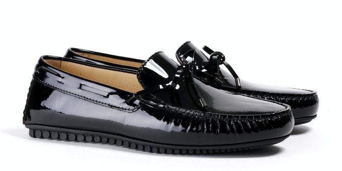 Men's Patent Black Mocassin