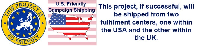 This project, if successful, will be shipped from two fulfilment centers, one within the USA and the other from the UK.