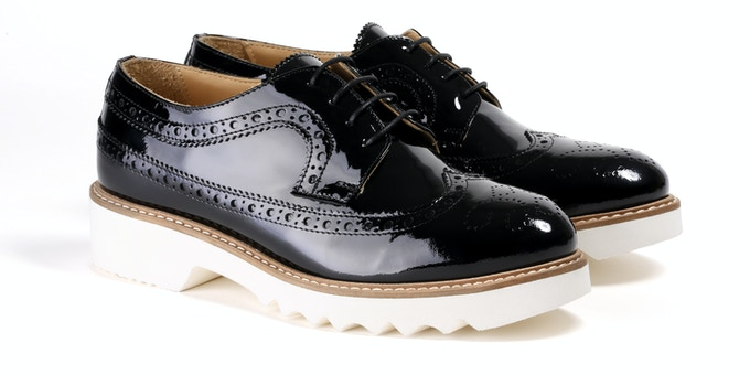 Women's Patent Black Wingtip