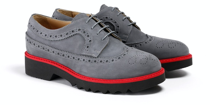 Women's Grey & Red Wingtip