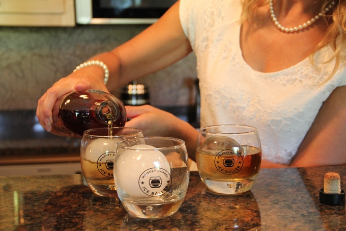 Whiskey ice ball drinks