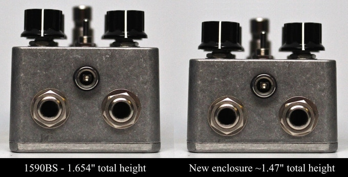Comparison of the new enclosure to Hammond 1590BS (mockup)