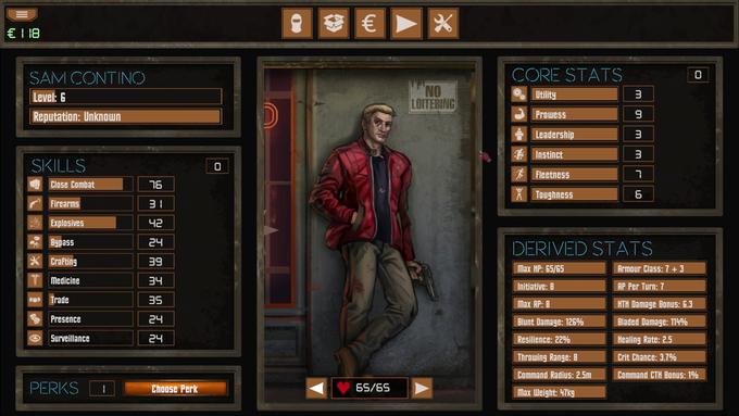 The main character screen in Vigilantes