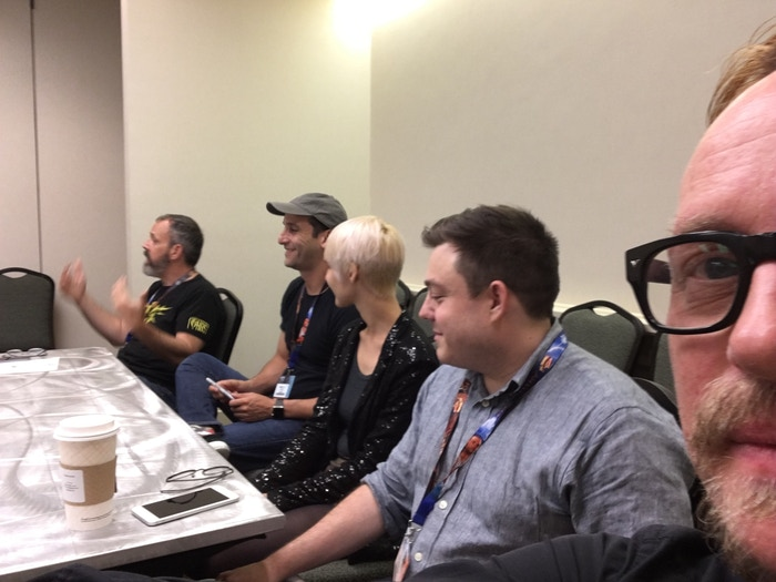 From left to right: Mitch Gitelman, Elan Lee, B Cavello, Max Temkin, and Luke Crane