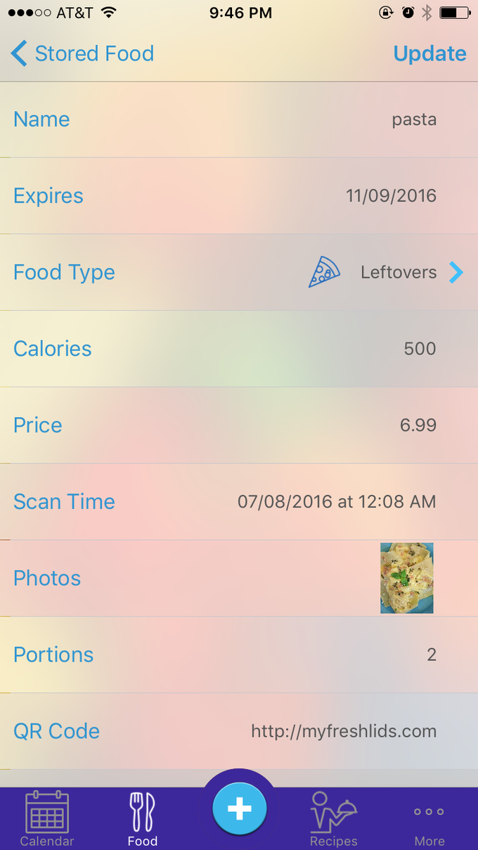 Food Entry App View