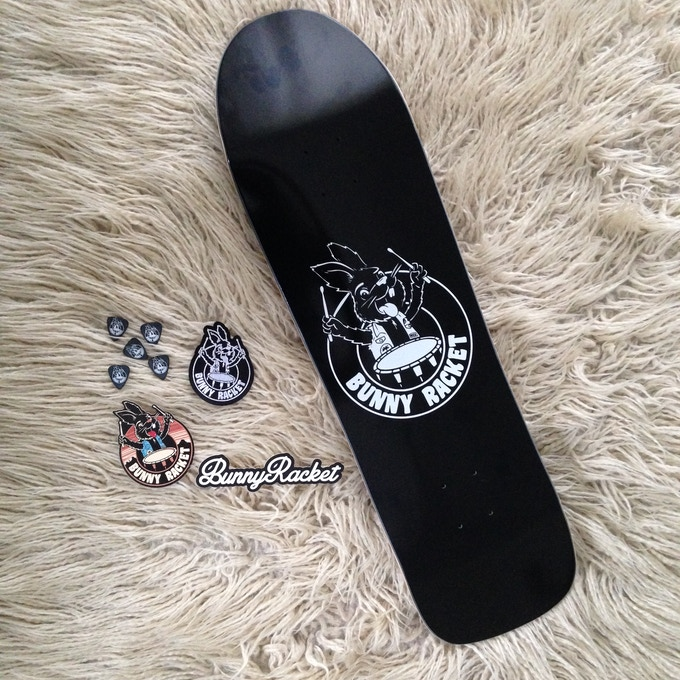 Rewards including custom skateboard decks, patches, guitar picks and stickers!