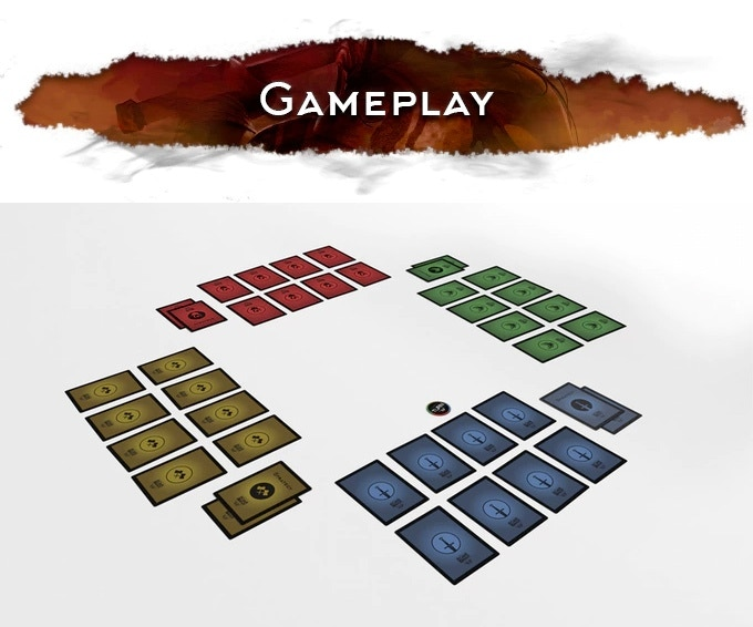 Before starting a game, each player reviews his/her 24 cards and places 8 of them as shown above.