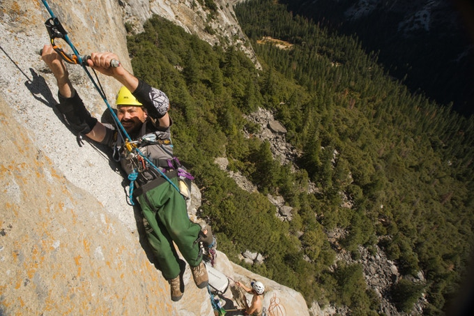 "Enock, earning his progress during a practice climb on ""Astroman"" on Washington Column in Yosemite"